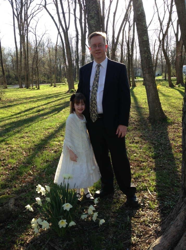 A going to father/daughter dance with my husband.