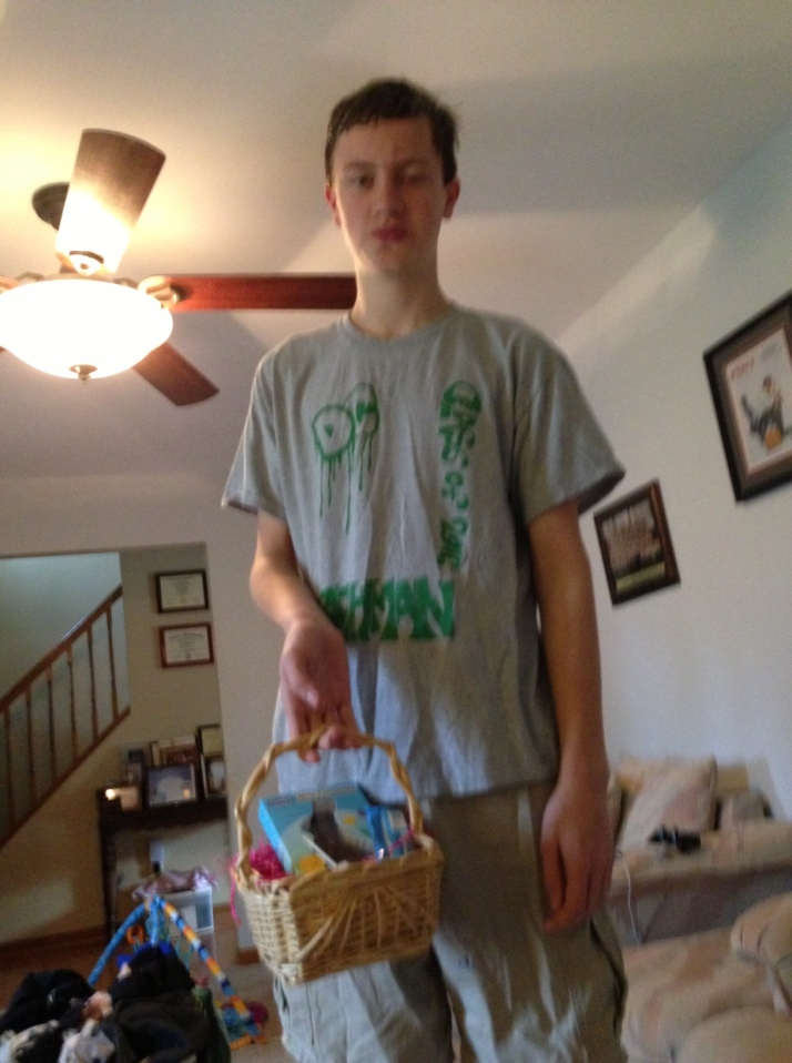M with his basket.