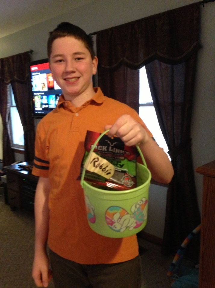 R with his Easter basket.