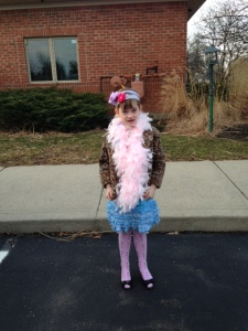 A dressed as Fancy Nancy