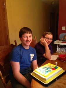 R's 15th birthday with T in the background.